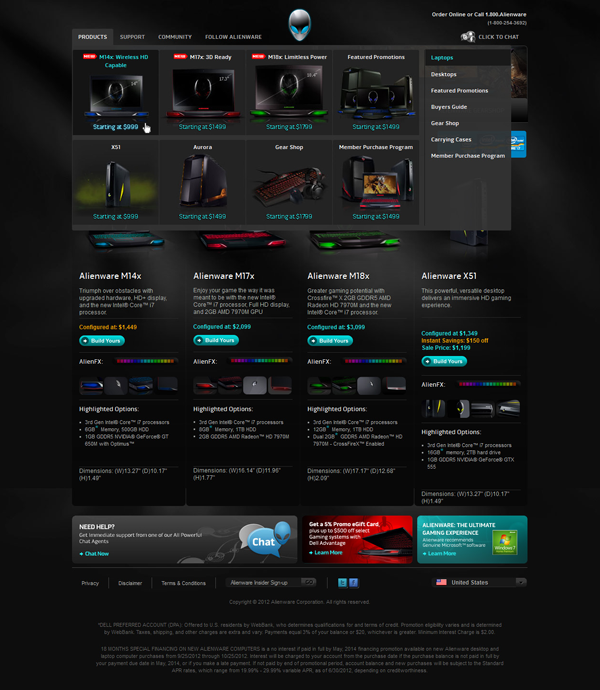 Alienware page