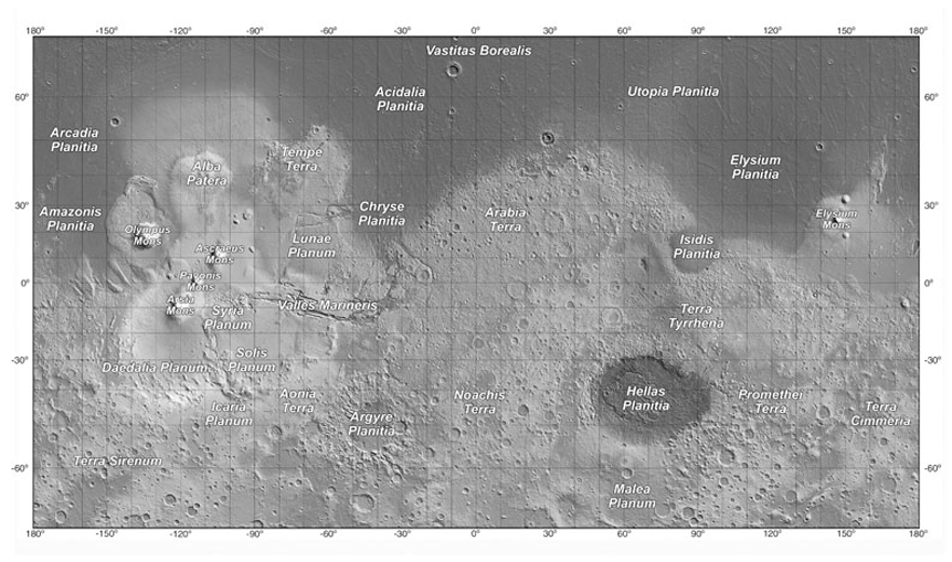 Mars Topographical Map