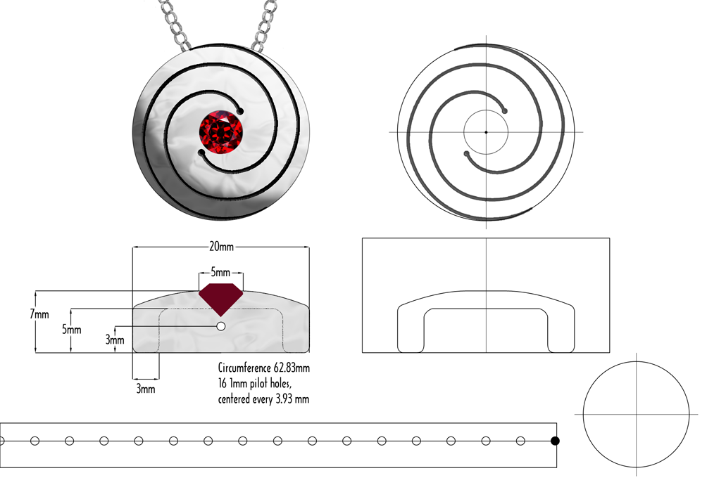 Spiral Pendant diagrams