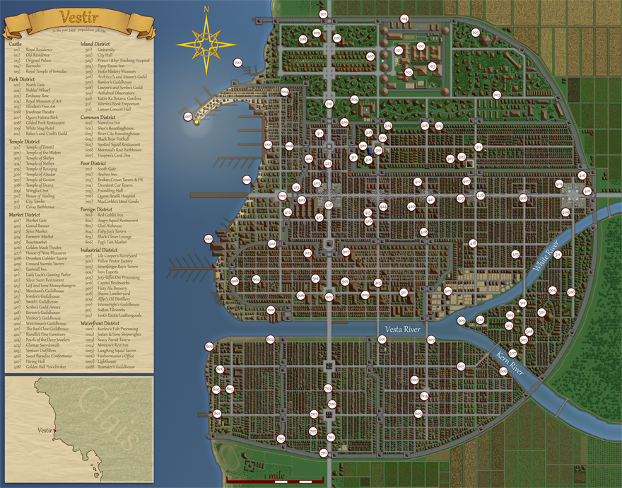 Vestir City Map